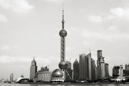 Shanghai Pudong in black and white