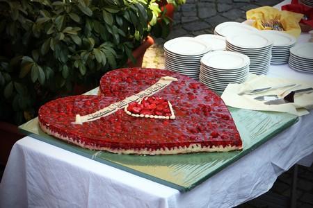 Wedding cake as heart form