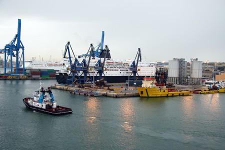 rom: Industrial Harbor near of Rom Stock Photo