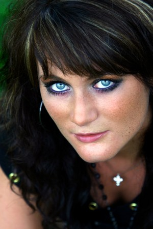 Portrait - with make up - of natural german beauty with steel blue eyes Stock Photo