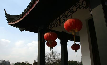 bejing: Chinese traditional old town roof within the chinese new year  Stock Photo