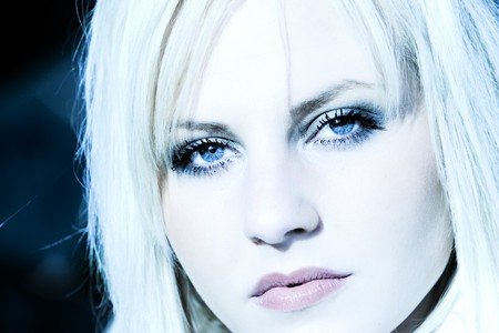 sternly: High Key Photo of a blond girl with ice-cold blue eyes and perfect lips