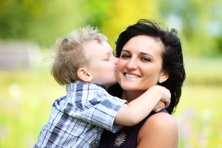 motherly love between son and young mother
