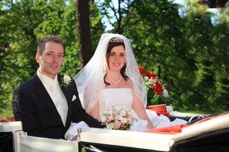Wedding carriage. young couple after wedding in a nice wedding trailer with horses in front of them