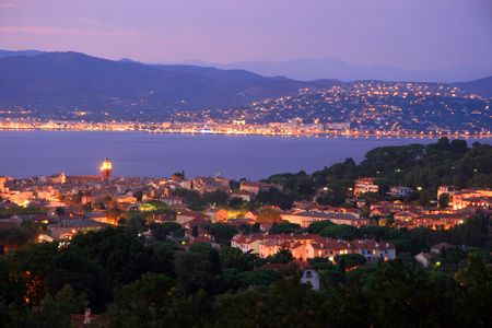 Saint Tropez at night within the blue hour. Very nice view of a perfect holiday. Vacation in france. Typical french style Stock Photo