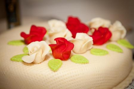 marzipan: wedding cake with  almond paste marzipan Stock Photo