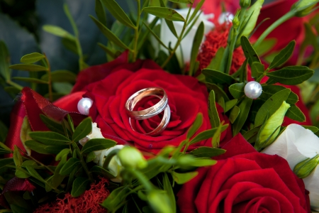 Rings on Roses - Wedding rings are on a bouquet or bunch of red roses photo