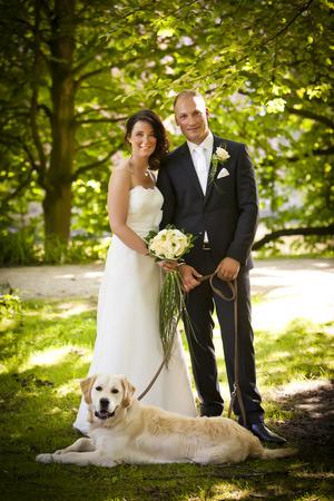 matrimonio feliz: pareja de reci�n casados ??con el ramo y el perro despu�s de la boda