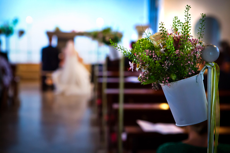 way floor path in church to wedding with flower white pot plant as decoration Stock Photo