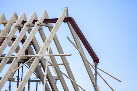 wooden roof construction of pitched roof
