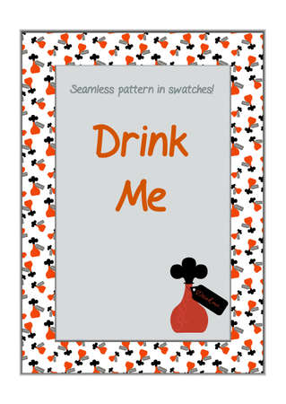 drink me: Invitation postcard Drink Me Bottle from Wonderland.  Printable Vector Illustration for Graphic Projects, Real Life Parties and the Internet.