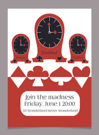 hatter: Invitation card Clocks from Wonderland.  Printable Vector Illustration for Graphic Projects, Real Life Parties and the Internet. Illustration