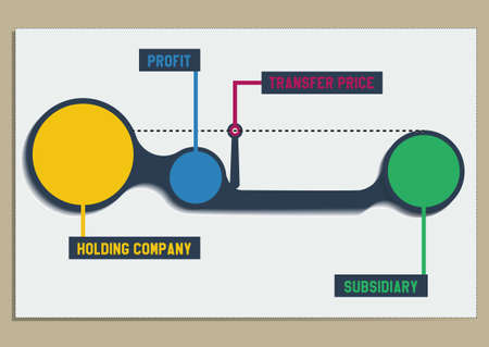 receivable: Metaball round diagram infographics on brown background transfer pricing  vector illustration