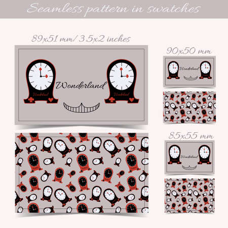 ready logos: Cards Clocks from Wonderland. Print Ready All Sizes Vector Illustration for Graphic Projects, Real Life Parties and the Internet.