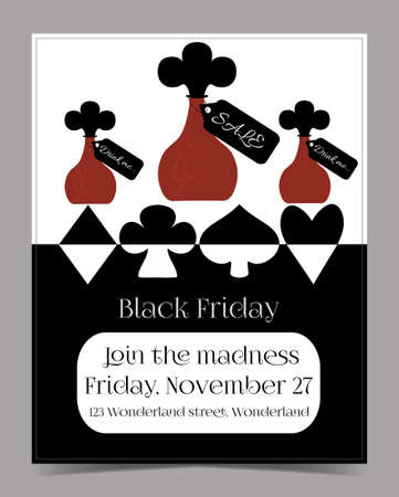 Drink Me Bottle. Banner Card Brochure - Black Friday Sale in Wonderland. Printable Vector Illustration for Graphic Projects, Real Life Parties and the Internet. Illustration