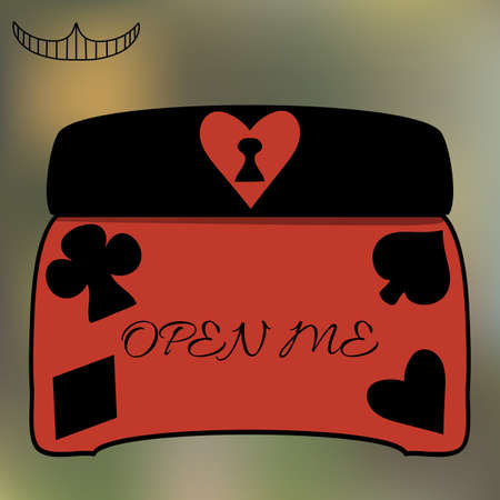 closed club: Alice Open Me Key casket jewelry box from Wonderland World -Tea Party, Birthday, Children Party, Bridal Shower. Vector illustration for graphic projects, Real Life Parties and Internet.