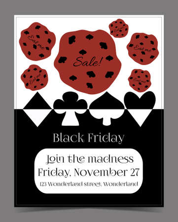 food poison: Black Friday Sale in Wonderland Banner, Card, Brochure - Cookie. Printable Vector Illustration for Graphic Projects, Parties and the Internet. Illustration