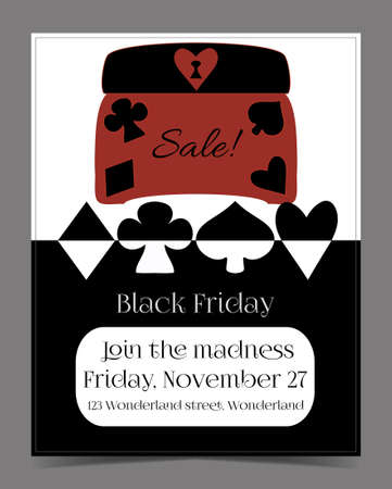 Black Friday Sale in Wonderland Banner, Card, Brochure - Jewelry Box. Printable Vector Illustration for Graphic Projects, Parties and the Internet.