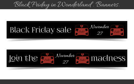Banners Black Friday Sale in Wonderland - Jewelry Box. Vector Illustration for Graphic Projects, Parties and the Internet.  イラスト・ベクター素材