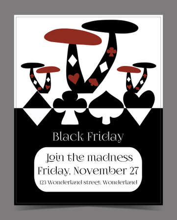hatter: Black Friday Sale in Wonderland Banner, Card, Brochure - Mushrooms. Printable Vector Illustration for Graphic Projects, Parties and the Internet.