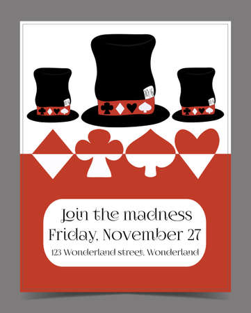 hatter: Invitation card - Hatter Hat from Wonderland.  Printable Vector Illustration for Graphic Projects, Real Life Parties and the Internet.