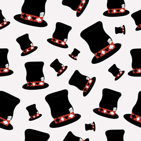 hatter: Hatter Hat from Wonderland World. This way - that way. Seamless Vector Texture Can Be Used for Wallpapers, Pattern Fills, Web Page Backgrounds, Surface Textures. Illustration