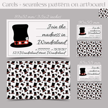 ready logos: Cards Templates - Hatter Hat from Wonderland. Print Ready All Sizes Vector Illustration for Graphic Projects, Real Life Parties and the Internet. Illustration