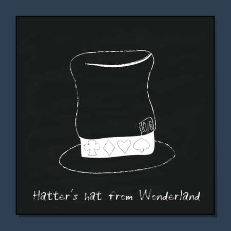 hatter: Hatter Hat from Alice Adventures in Wonderland. Vector Element on Chalkboard Background.