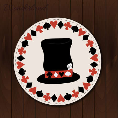 hatter: Hatter hat - drink coaster from Wonderland on Wooden Background. Printable Vector Illustration for Graphic Projects, Parties and the Internet. Illustration