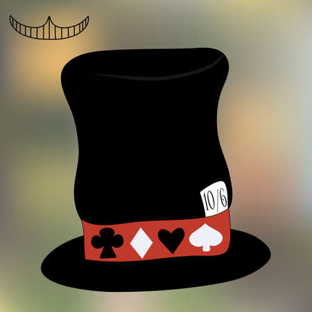 mad: Mad Hatter Hat from Wonderland. Tea Party, Birthday, Children Party, Bridal Shower. Vector Illustration on Blur Background for Graphic Projects, Parties and the Internet.