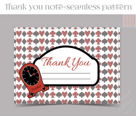 thank you note: Thank you Note - Clocks from Wonderland.  Printable Vector Illustration for Graphic Projects, Parties and the Internet. Illustration