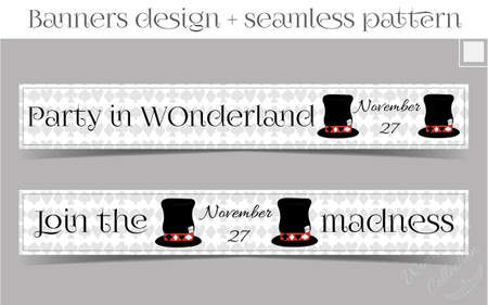 hatter: Banners Party in Wonderland - Hatter Hat. Vector Illustration for Graphic Projects, Parties and the Internet. Illustration