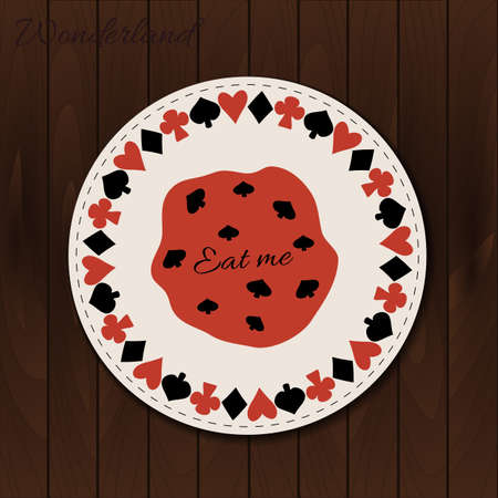 Cookie- drink coaster from Wonderland on Wooden Background. Printable Vector Illustration for Graphic Projects, Parties and the Internet.