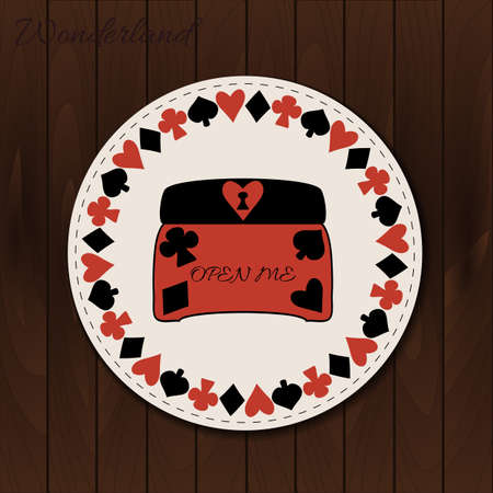 jewelry box: Jewelry Box - drink coaster from Wonderland on Wooden Background. Printable Vector Illustration for Graphic Projects, Parties and the Internet.