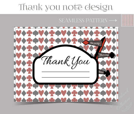 thankful: Thank you Note - Direction sign from Wonderland.  Printable Vector Illustration for Graphic Projects, Parties and the Internet.