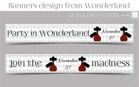 Banners Party in Wonderland - Drink me Bottle. Vector Illustration for Graphic Projects, Parties and the Internet.
