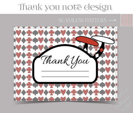food poison: Thank you Note - Mushroom from Wonderland.  Printable Vector Illustration for Graphic Projects, Parties and the Internet.