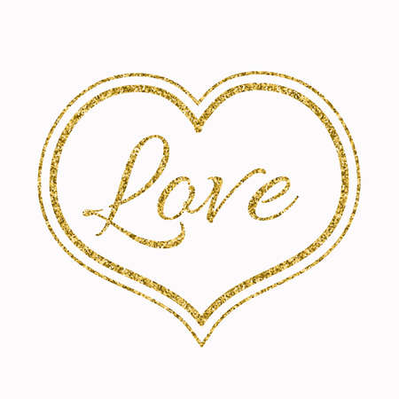 glitter heart: Gold Glitter Heart on White Background for a Valentine Day. Can be used for Love Valentine Letter, Card, Valentines day Celebration, design, etc. Illustration