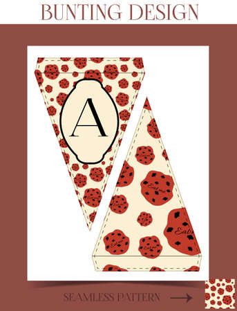 eat me: Bunting design - Eat me Cookie from Wonderland.  Printable Vector Illustration for Graphic Projects, Parties and the Internet. Do it yourself, Scrapbooking.
