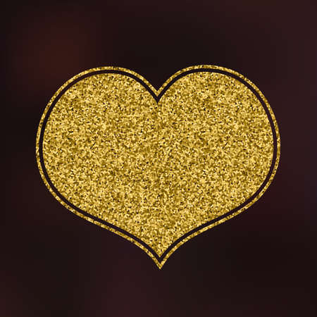 glitter heart: Gold Glitter Heart on Blur Background for a Valentine Day. Can be used for Love Valentine Letter, Card, Valentines day Celebration, design, etc.
