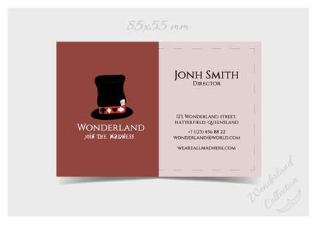 hatter: Business Card Template - Hatter Hat from Wonderland. Print Ready  Vector Illustration for Graphic Projects, Real Life Parties and the Internet.