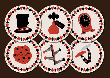 mad: Set collection of drink coasters from Wonderland. Hatter hat, drink me, eat me, clocks, direction signs, mushroom. Printable Vector Illustration for Graphic Projects, Parties and the Internet. Stock Photo
