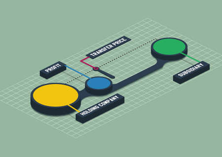 Colorful 3d isometric metaball round diagram infographics on green background Transfer pricing in holding companies. Vector