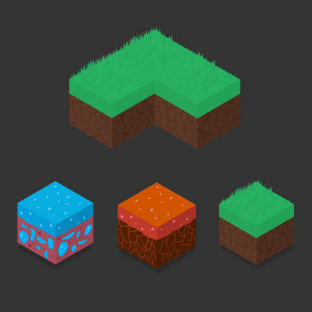asset: Collection set of 3D Isometric Landscape Cubes - Ground Grass, Water, Lava Element. Icon Can be used for Game, Web, Mobile App, Infographics. Game asset. Stock Photo