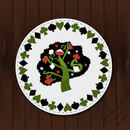 coaster: A Tree - Drink Coaster from Wonderland Forest or Garden on Wooden Background. Printable Vector Illustration for Graphic Projects, Parties , scrapbooking and the Internet.