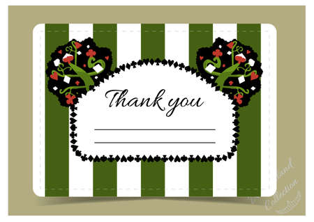 thank you note: Thank you Note - tree from Wonderland garden or forest.  Printable Vector Illustration for Graphic Projects, Parties and the Internet.