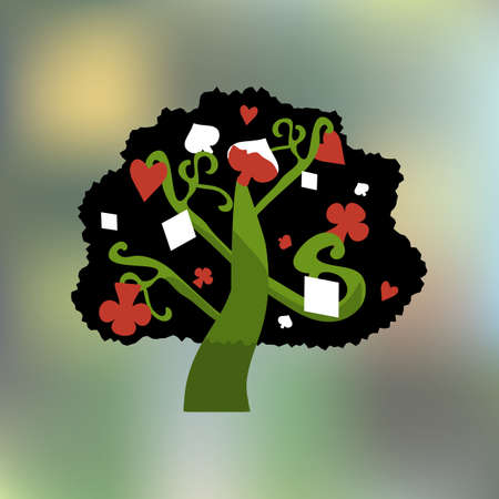 forest tea: Alice Tree from Wonderland Garden or Forest -Tea Party, Birthday, Children Party, Bridal Shower. Vector illustration for Graphic projects, Real Life Parties and the Internet.