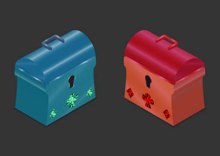 starter: 3D Isometric Chest Blue and Red. Icon Can be used for Game asset Interface, Web, Mobile App, Infographics. Stock Photo