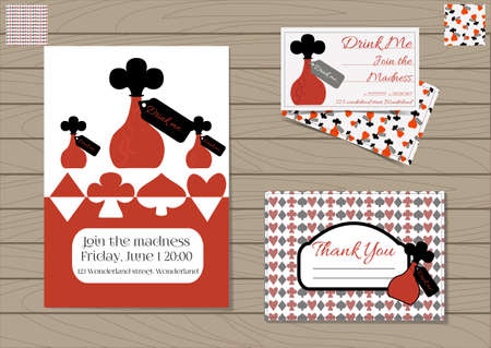 Drink me Bottle. Set Collection of Invitation card, Thank you Note, Business Card Wonderland. Printable Vector Illustration for Graphic Projects, Parties, Web, Celebrations. Wooden Background Texture.