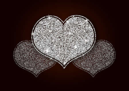 Silver White Shining Glitter Heart for a Valentine Day. Can be used for Love Letter, Card, Valentines day Celebration, design, etc.